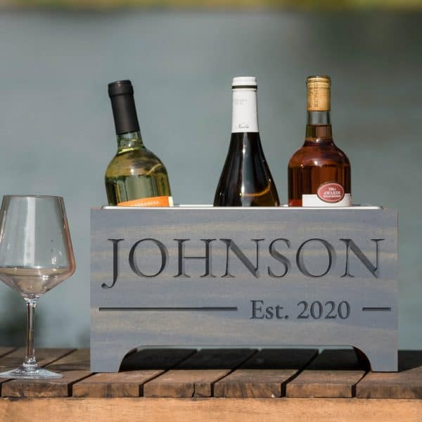 custom text wedding gift - Wine Chiller - Gray with engraved Johnson