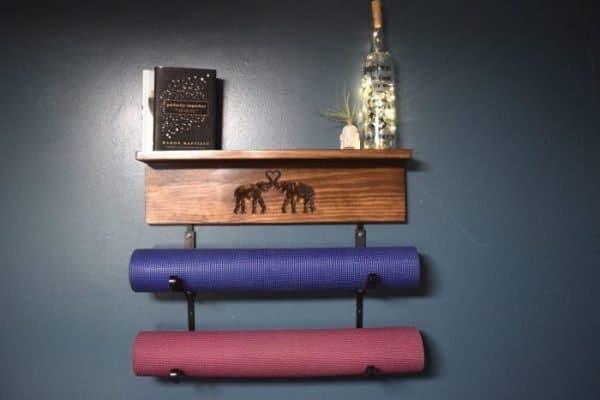 Elephant double yoga mat holder
